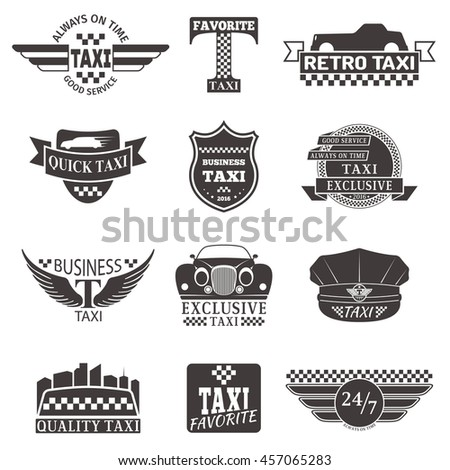 set of vintage and modern taxi...