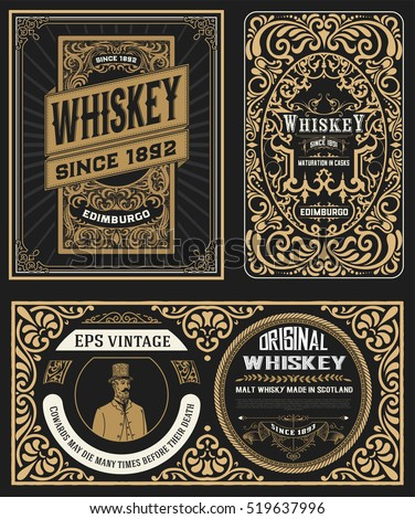 Set of Vintage badge for whiskey packing