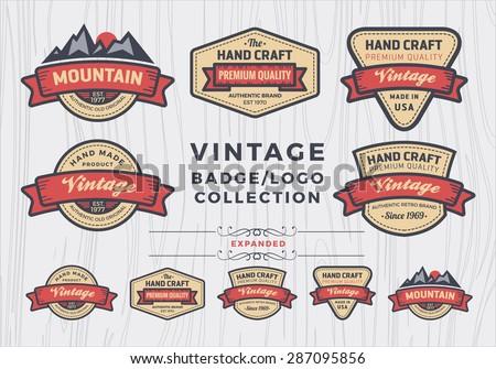 Set of vintage badge/logo design, retro badge design for logo, banner, tag, insignia, emblem, label element