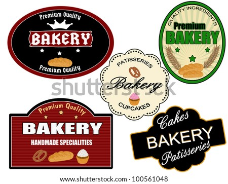 Set of vintage bakery labels on white background, vector illustration