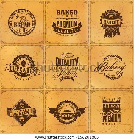 Set of vintage bakery or bread shop labels, badges and design elements on grunge blur texture