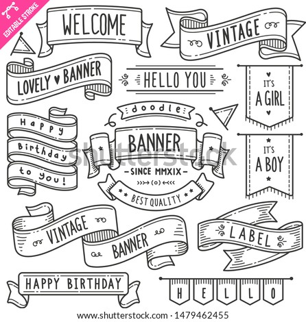 Set of vintage banner and ribbon related objects and elements. Hand drawn doodle illustration collection isolated on white background. Editable stroke/outline.