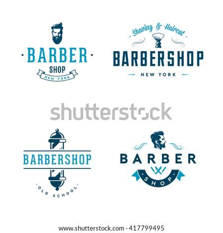 Set of vintage barber shop badges and emblems isolated on white background