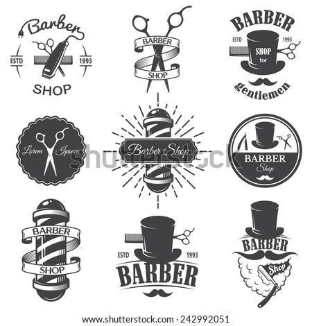 set of vintage barber shop...