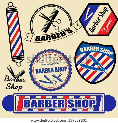 Set Of Vintage Barber Shop Labels And Stamps, Vector Illustration ...