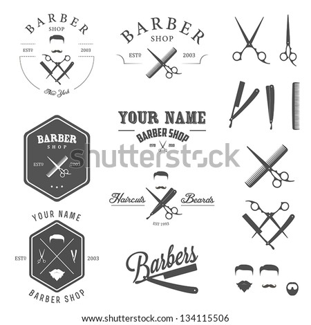 set of vintage barber shop logo ...