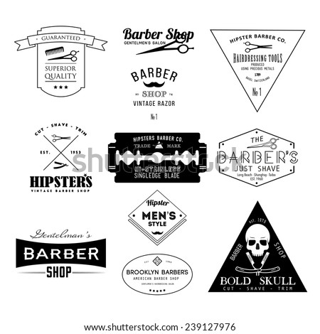 Set of vintage barber shop logo labels badges and design element