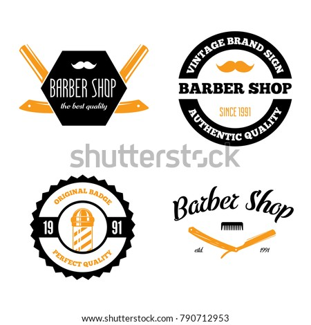 Set of vintage barber shop logo, labels, badges and design element