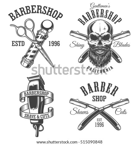 set of vintage barbershop