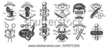 Set of vintage barbershop emblems, labels, badges, logos. Layered. Text is on separate layer. Isolated on white background