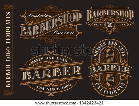 Set of vintage barbershop emblems, logos, badges. Tattoo lettering illustration. Text and design elements are in separate groups.