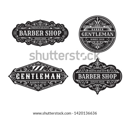 Set of Vintage barbershop label design, calligraphy and typography elements styled designs