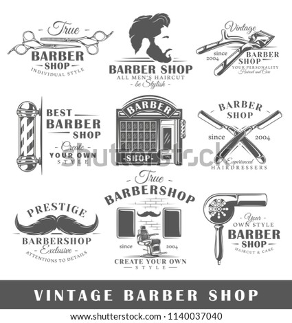 Set of vintage barbershop labels. Templates for the design of logos and emblems. Collection of barbershop symbols: shaver, haircut, beard. Vector illustration