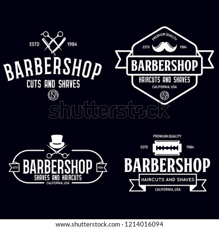 Set of vintage barbershop labels. Templates for the design of logos and emblems. Collection of barbershop symbols - razor, pole, scissors. Vector illustration.