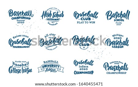 Set of vintage Baseball emblems and stamps. Baseball club, school, badges, templates,stickers isolated on white background. Collection of retro logos with hand-drawn text, phrases. Vector ilustration