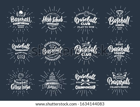 Set of vintage Baseball emblems and stamps. Baseball club, school, league badges, templates, stickers with rays. Collection of retro logos with hand-drawn text and phrases. Vector illustration.