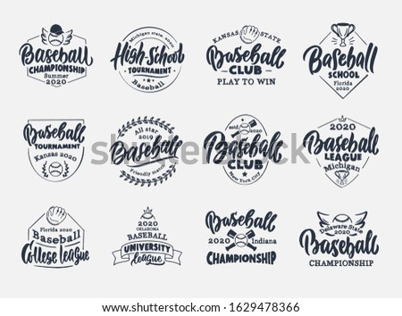 Set of vintage Baseball emblems and stamps. Baseball club, school, league badges, templates and stickers. Collection of retro logos with hand-drawn text and phrases. Vector illustration.