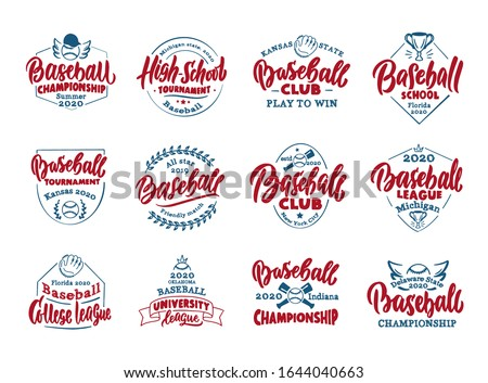 Set of vintage Baseball emblems and stamps. Colorful badges, templates and stickers on white background. Collection of retro logos with hand-drawn text and phrases. Vector illustration
