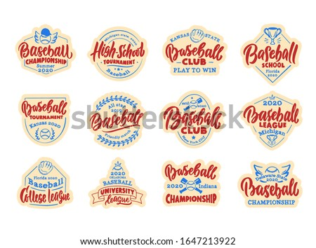 Set of vintage Baseball stickers, patches. Baseball club, school, league badges, templates, emblems and stamps. Collection of retro logos with hand-drawn text and phrases. Vector illustration.