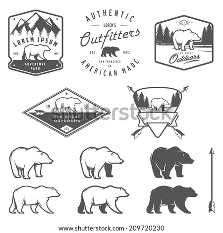 set of vintage bear icons ...