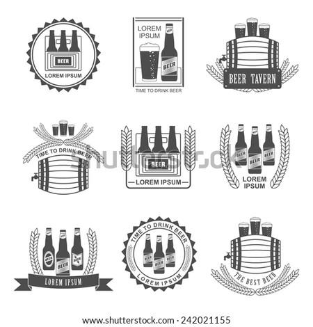 Set of vintage beer labels and design elements - Shutterstock ID 242021155