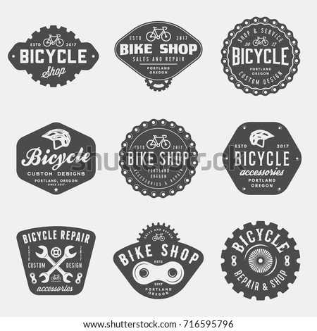 set of vintage bicycle shop and ...