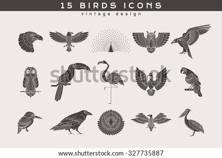 set of vintage birds icons