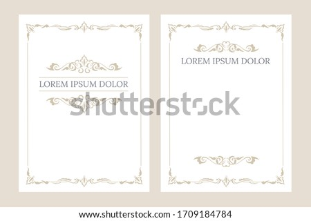 Set of vintage blank invitation greeting card with place for text vector flat illustration. Collection of luxury cards with golden border design template. Original elegant ornament