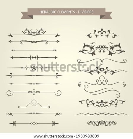 Set of vintage book vignettes, dividers and separators, decor curls, vector