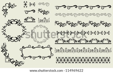 Set of vintage borders, frames corners and design elements
