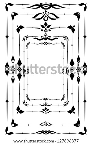 Set of 5 vintage borders, page decorations and caligraphy  designs.