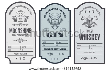 Set of vintage bottle label design with ethnic elements in thin line style. Alcohol industry emblem, distilling business. Monochrome, black on white. Place for text #614152952