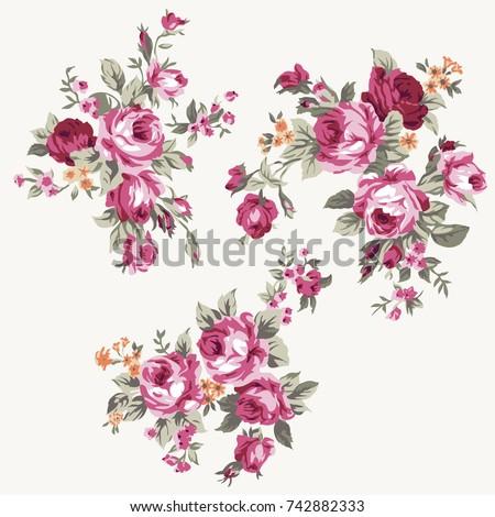 Set of vintage bouquet of roses, floral design and decoration elements - raster version