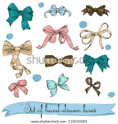 set of vintage bows. Vector illustration EPS8