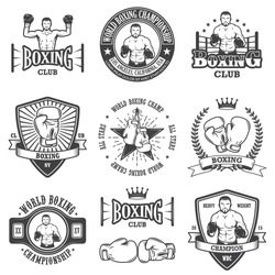 Set of vintage boxing emblems, labels, badges, logos and designed elements. Monochrome style