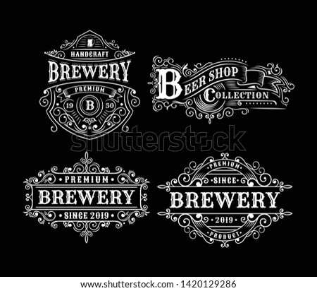 Set of Vintage brewery label design, calligraphy and typography elements styled design [Converted]
