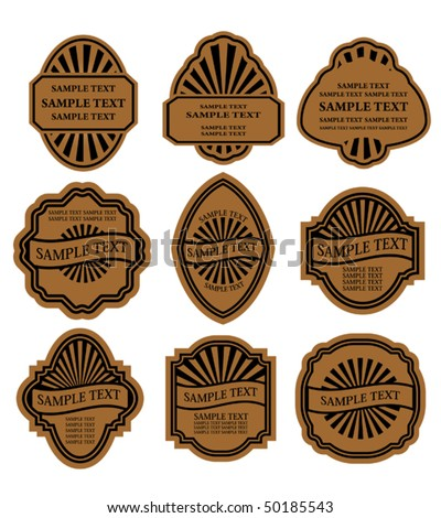 Set of vintage brown labels for design food and beverages. Jpeg version also available