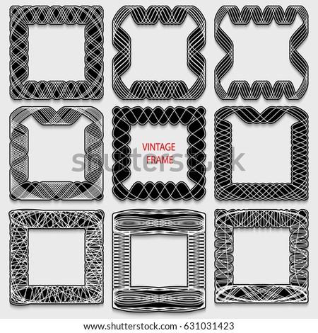 Set of vintage calligraphic frames. Black lines on a white background. Vector illustration.