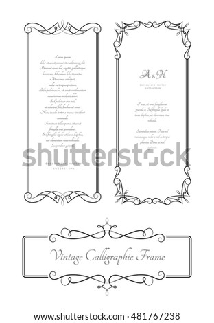 Set of vintage calligraphic rectangle frames with scroll borders, decorative banners, vector elegant scroll embellishment on white