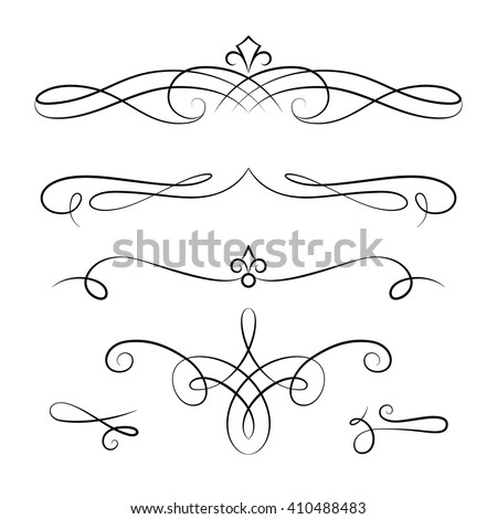Set of vintage calligraphic vignettes, vector scroll embellishment on white
