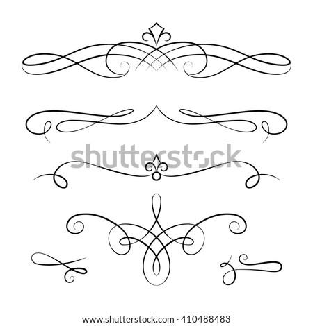 Set of vintage calligraphic vignettes, vector scroll embellishment on white Foto d'archivio ©