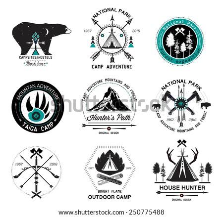 set of vintage camp labels set