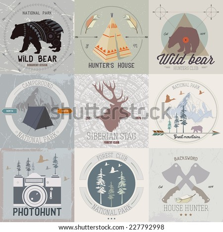 Set Of Vintage Camping And Outdoor Activity Logo Mining Hunting Equipment Camp In