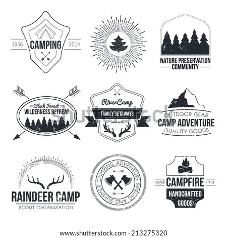 Set of vintage camping and outdoor activity logos. Vector logo templates and badges with forest, trees, mountain, campfire, tent, antlers. National parks and nature exploration symbols.