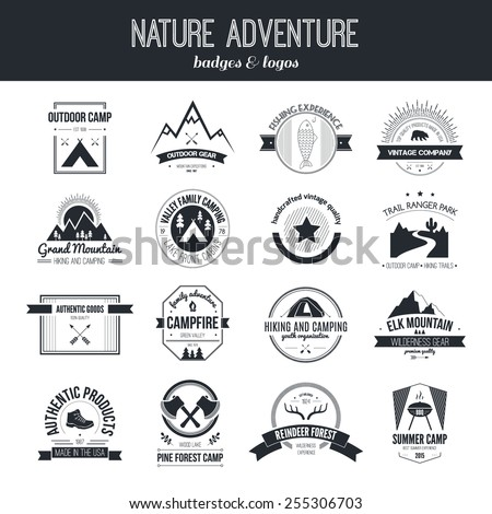 Set of vintage camping and outdoor activity logos. Vector logotypes and badges with forest, trees, mountain, campfire, tent, antlers.