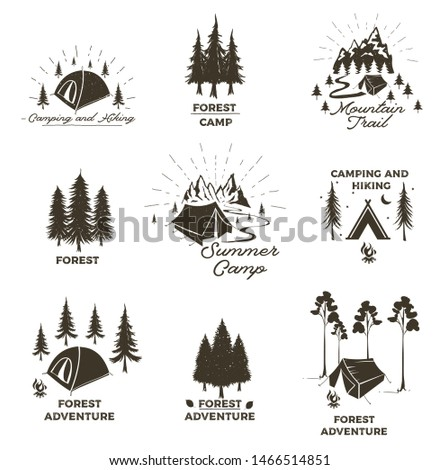 Set of vintage camping and outdoor adventure emblems, logos and badges. Camp tent in forest or mountains. Camping equipment. Summer camp with design elements. Vector illustration. Camping and outdoor.