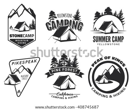 Set of vintage camping and outdoor adventure emblems, logos and badges. Camp tent in forest or mountains. Camping equipment. Camping vector. Campfire. Camping icons.