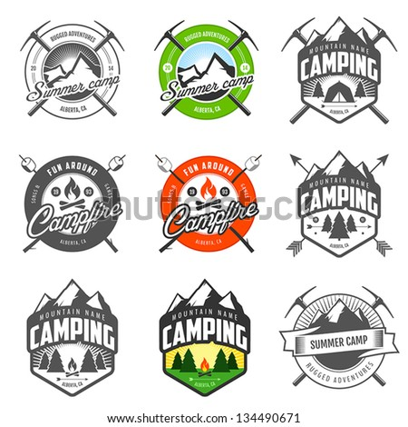 set of vintage camping labels...