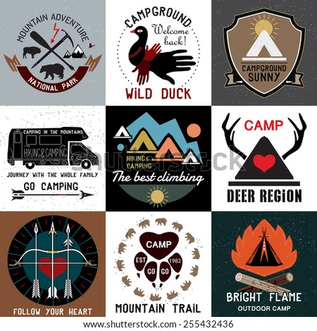 Set of vintage camping logos. Vector logo templates and badges with animals, forest, mountain, tent, campfire, antlers. Symbols of the national park and open camp.