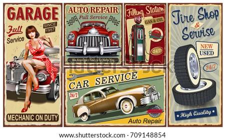 Set of vintage car  metal signs,Garage, Filling Station, Tire Service retro posters.